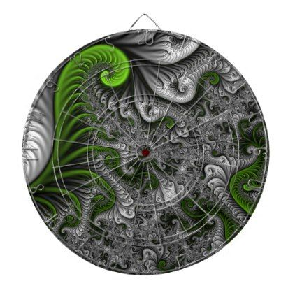 #modern - #Fantasy World Green And Gray Abstract Fractal Art Dartboard With Darts