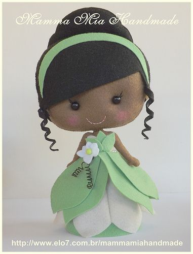Tiana PDF, ||| doll, plush, Disney, Princess and the Frog, felt, fabric