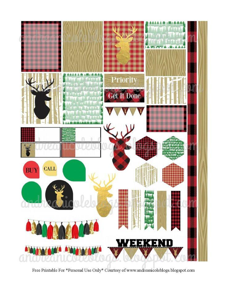 Free Lumber Jack Planner Stickers/ Andrea Nicole Blogs #freeprintable #plannerstickers #planner