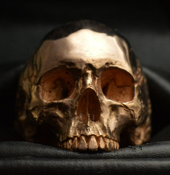 18 kt. rose gold Skull ring Mid size half jaw silver mens skull biker masonic rock n roll handmade jewelry etsy