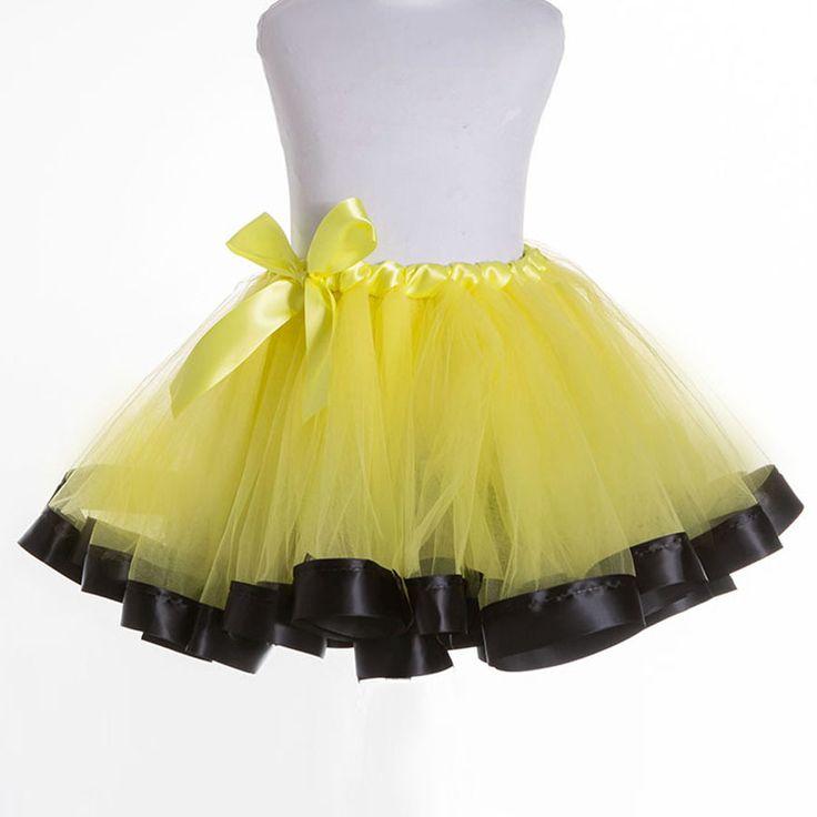 Yellow+Black Fluffy Pettiskirts Kids Girls Tutu Skirt  Baby Tutus Princess Gilrs Dance Party Tulle Skirts Jupe Enfant 2-12 Years
