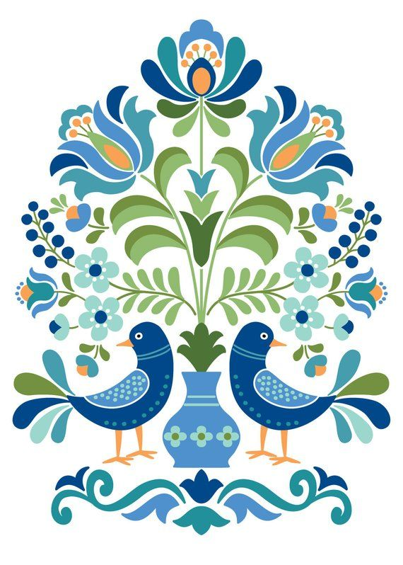 Hungarian Folk Art Print This is an image created in Adobe Illustrator and inspired by the beautiful folk designs of Hungary. The image is printed on museum quality fine art paper. SIZES: 5 x 7, 8 x 10, 11 x 14, 12 x 16 Frame and mat are not included.