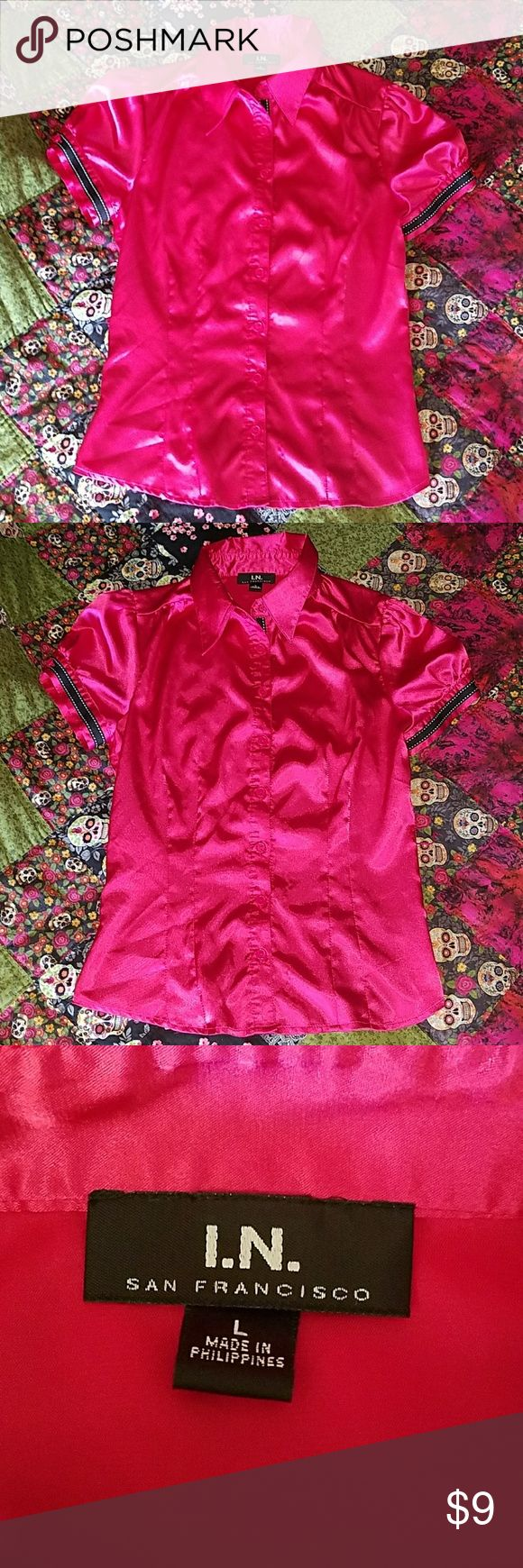 Hot pink blouse Hot pink blouse with cute black and white detailing on the sleeves Comes with waist tie that matches the black and white on sleeves Gently used Waist tie loop on right hand side is unattached on 1 side I.N. San Francisco Tops Blouses