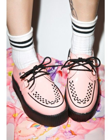 #DollsKill #lookbook #photoshoot #model #TUK Peachy #pink #patent Viva Mondo #creepers