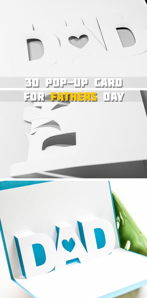 3D Pop up Fathers Day Card - Fathers Day Arts & Crafts for Kids - Click for Tutorial