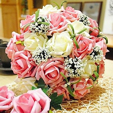 Round Bridal Flower Romantic Wedding Bride's Bouquet Rose Flower Bouquet Of Bride (More Colors) - USD $ 19.99