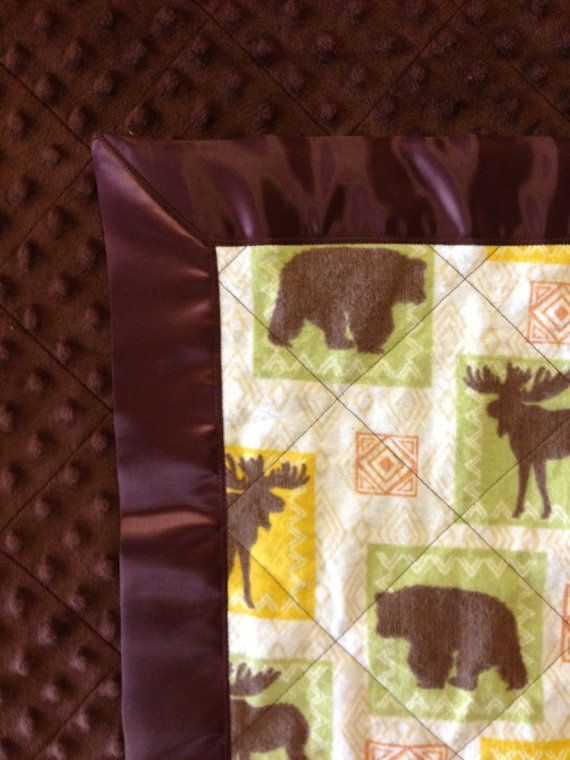 MOOSE & BEARS  Handmade Baby Boy Blanket by debbiedots on Etsy, $40.00