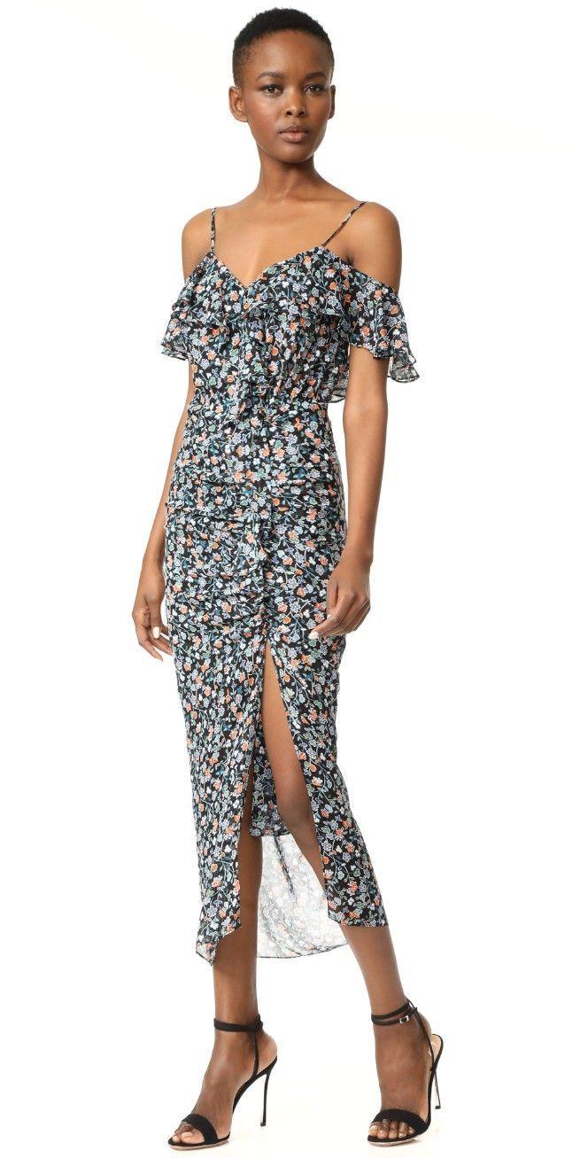Veronica Beard Marilyn Cold Shoulder Ruffle Dress | SHOPBOP