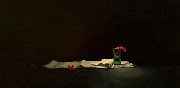 """Mia Feigelson's FB Gallery """" и-Красной смородины... И легенды зеленый часовни """" Путем David Paul Gleeson, британские современным художником Акрилом на борту gessoed; 12.5 х 25.75 в. 29.25 х 16 в. [подставил] https://www.facebook.com/davidpaulgleeson http://davidgleeson.co.uk/ Название настоящей работы является цитатой из Дилан Томас 'поэма в октябре' http://www.bigeye.com/october.htm Художник биография"""