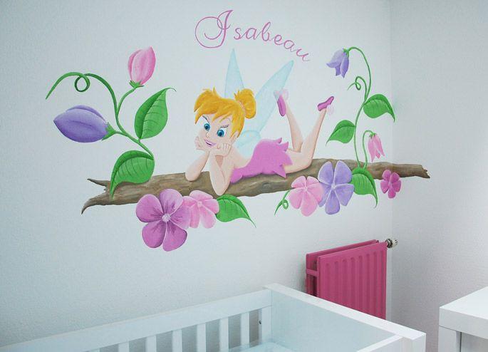 Tinkerbel meisjeskamer muurschildering, zowel voor een ouder meisje als voor in de babykamer. Kan op vele manieren geschilderd worden door BIM Muurschildering.