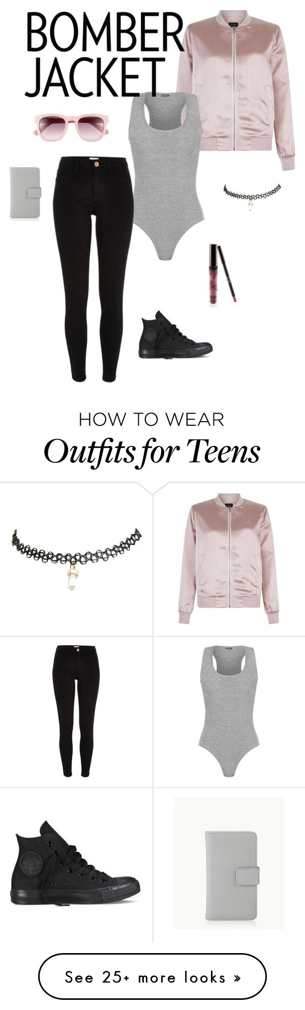 """""""Pink bomber jacket"""" by cynthiaf1344 on Polyvore featuring New Look, Converse, WearAll, River Island, Wildfox, Wet Seal, Kylie Cosmetics, GiGi New York and bomberjackets"""