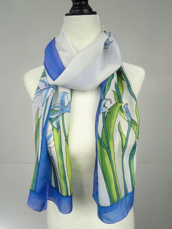 Silk Scarf Hand Painted Silk Scarf White Lilies White Blue Silk