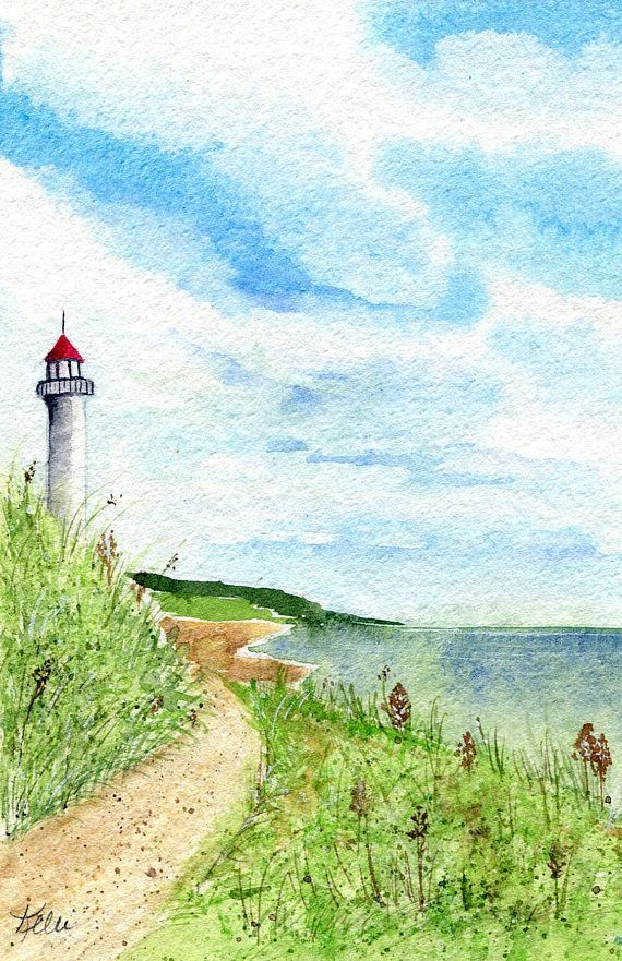 Original Watercolor Landscape Painting Lighthouse Dunes Beach Shore Coastline Spring Summer Art Housewarming Gift Small Format Ooak With Images Watercolor Landscape Landscape Paintings Watercolor Landscape Paintings