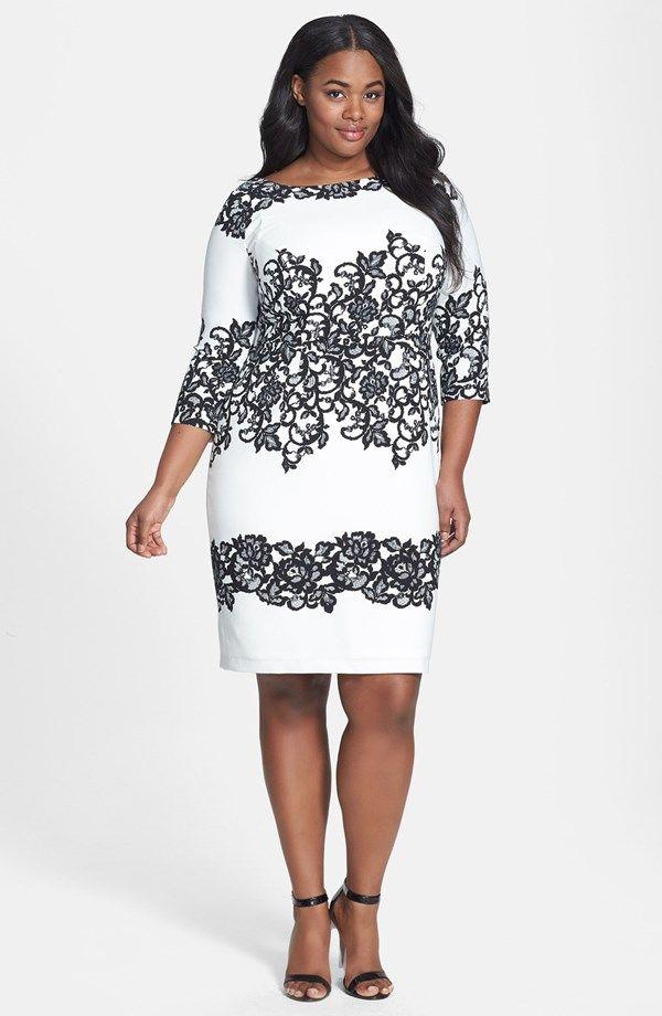 "<h3>Look #3 Adrianna Papell <a href=""http://thecurvy.me/1jnT8cV"" target=""_blank"">Print Sheath Dress</a></h3>"