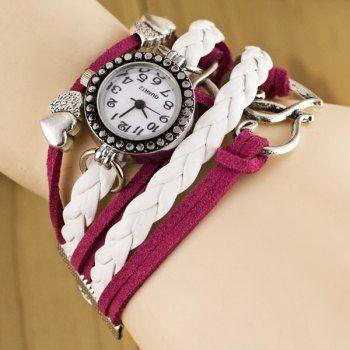 Las mujeres de lujo de la pulsera con colgante del diseño del corazón y correa de cuero Weaving