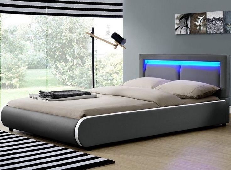 Łóżko 140x200 tapicerowane, skórzane Led Ciemno Szare LECTUS - Łóżka, Materace…