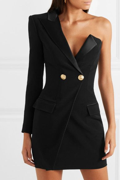 251e4b0181 Balmain - One-shoulder satin-trimmed crepe mini dress