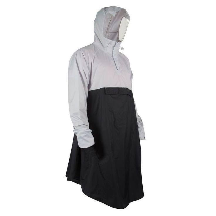 €29,99 - Fietsen_Fietskleding - Stadsponcho 900 grijs/zwart - B'TWIN
