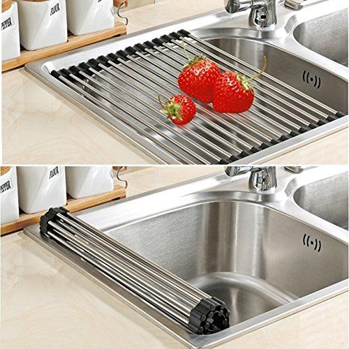 Roll-Up Stainless Steel Dish Drying Rack.