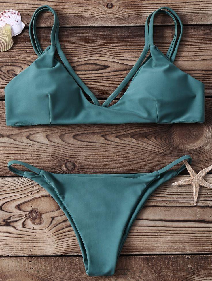 High-Cut Two Piece Bikini Set - GREEN S