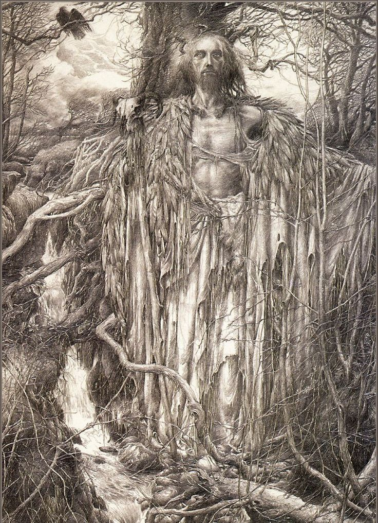 Merlin (pictured in the beautiful drawing by Alan Lee above) is a figure intimately connected with forests in Arthurian lore. After the disastrous Battle of Arderydd, Merlin goes mad and spends years as a wild man in the woods, living a solitary, animal existance, before he emerges into his full power as a magician and seer.