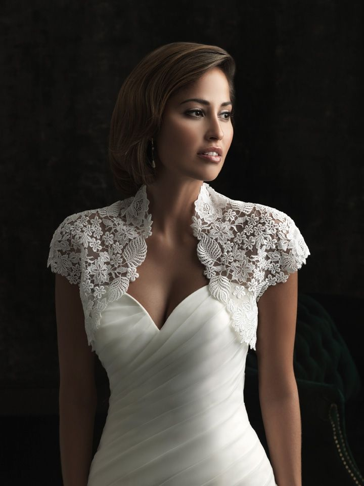 wedding gown with lace Bolero jacket