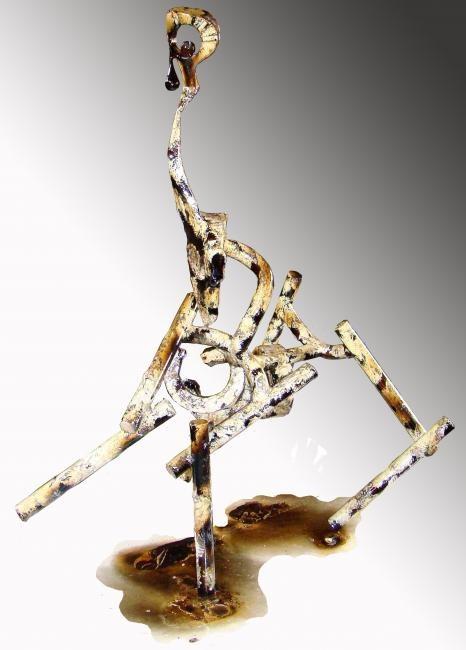 Le bourricot de l'apocalypse métal patiné hauteur 105cm