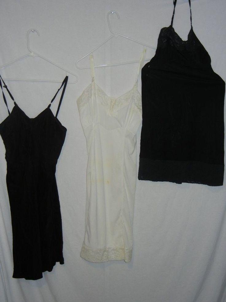 vintage 1950s lingerie lot Slip Lace Nylon craft fabric diy damaged torn reuse #Mixed #Slip