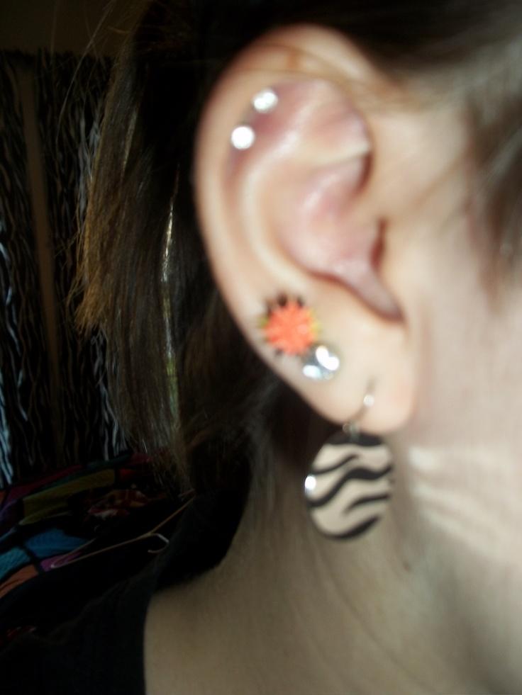 My double cartilage, & triple ear lobe piercings.(: