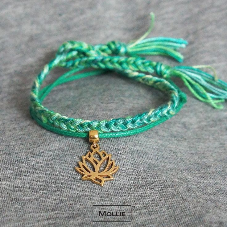 Bracelet set with lotus charm made of silver 925, covered 18k gold and silk braided cords / designed and produced in Poland