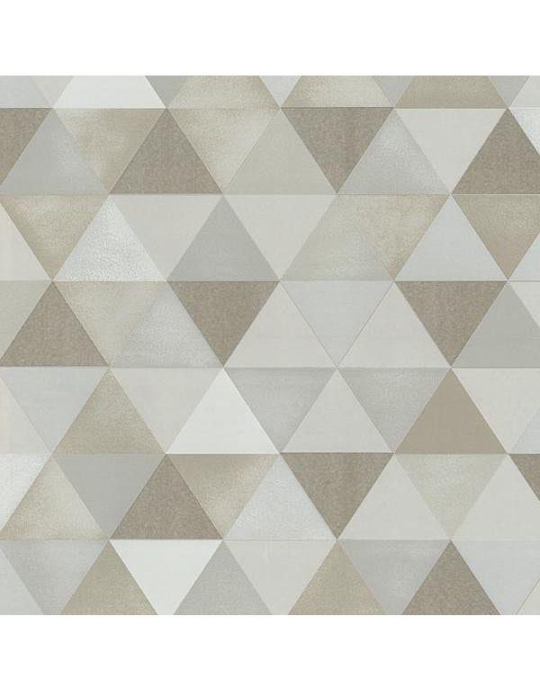 Behang bestaande uit allemaal driehoekjes in beige kleuren Spits 13267-10 B - Behang met grafische patronen