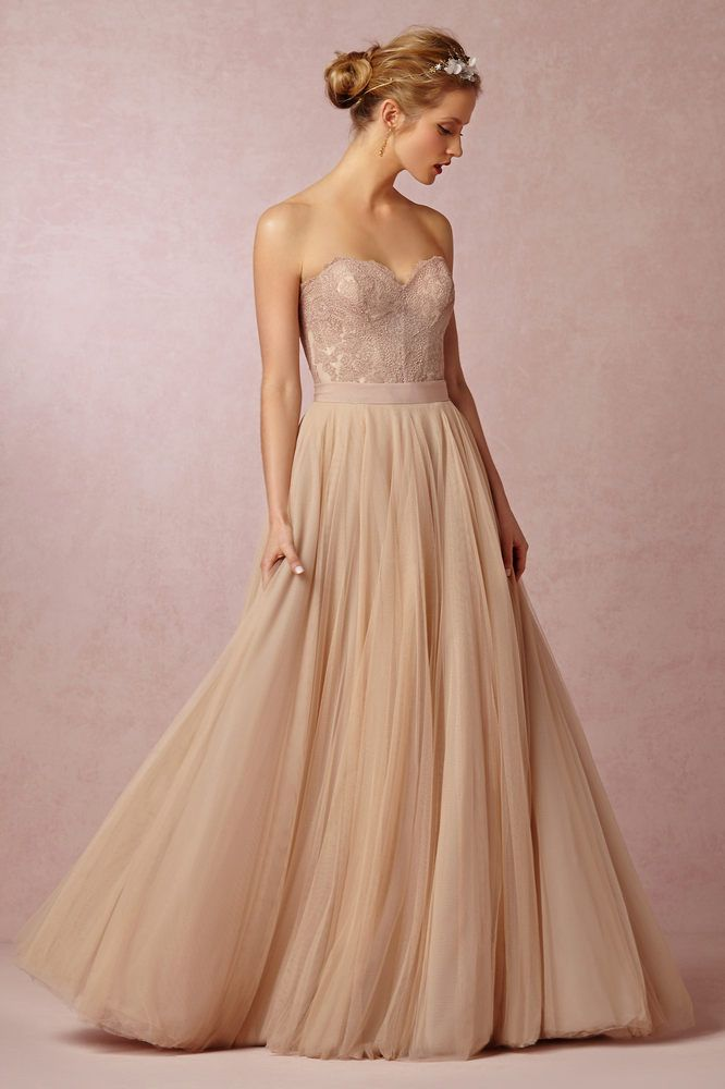 A beautiful, elegant, dusty rose-colored wedding gown from BHLDN