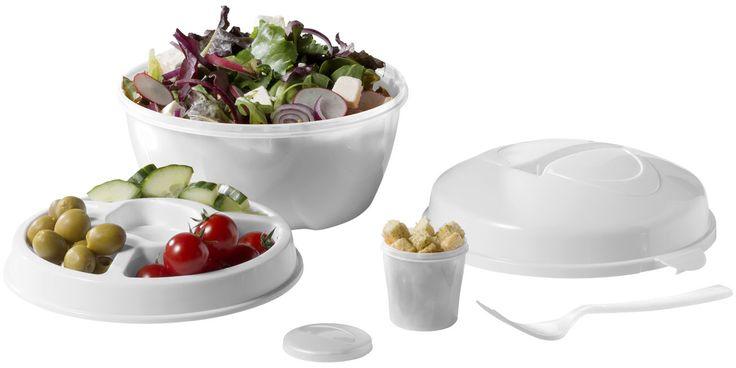 Set de boles para ensalada.  Bol para ensalada con plato desmontable de 4 compartimentos.  Incluye un tenedor en la tapa con doble cierre.  Apto para lavavajillas y microondas.  Material: Plástico PP.  Medidas: Diámetro 18 cms.   Precio unitario: Desde 3,83 €  #picnic #ensalada #veranopicnic #ocio #comerenelcampo