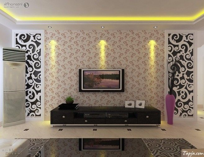 Delightful Living Room Interior Decorating With Wallpaper Beside Tv Wall Mounted As Wel Black Glass Table
