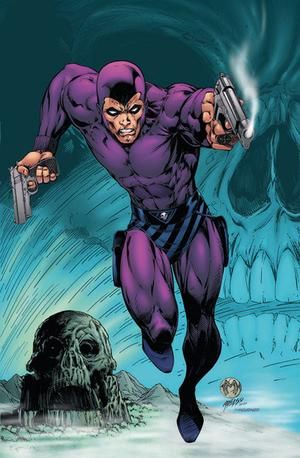"""The Phantom (Kit Walker aliases; Mr. Walker, Kit, The Ghost Who Walks, The Man Who Cannot Die, Guardian of the Eastern Dark) (Human) (Skull Cave, Bengalla Island) Guardian of the Innocent, Justice-Fighter. Excellent athlete.  Highly skilled martial artist,  marksman.  Uses a tight-fitting costume for maneuverability. 6' 2"""" tall."""
