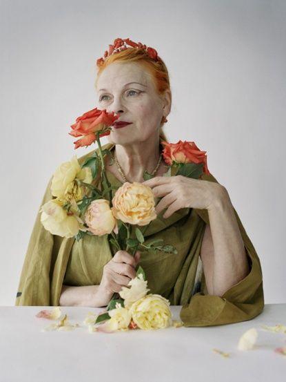 Vivienne Westwood with coral roses, London, UK, 2009, British Vogue, photo by Tim Walker