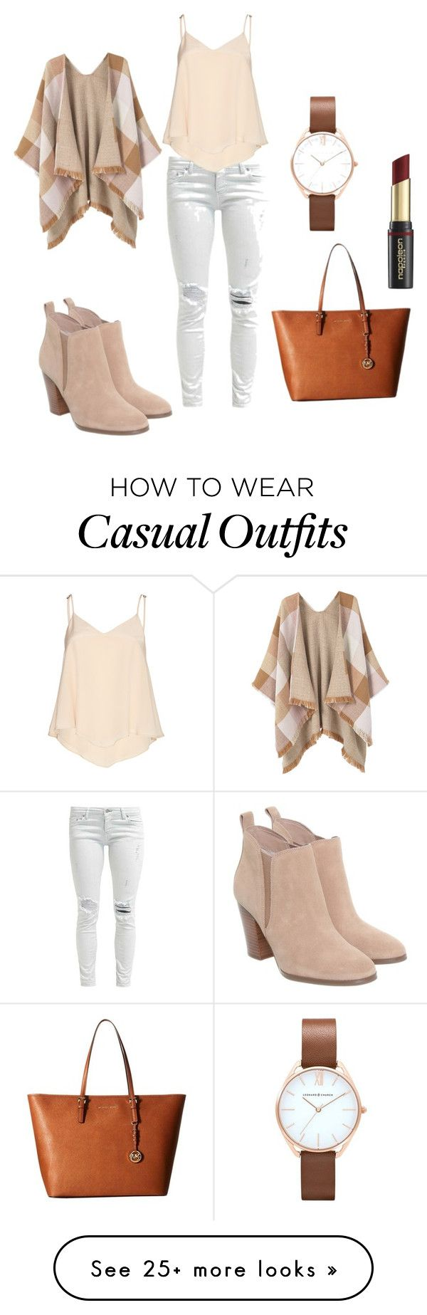 """Naturals & casual chic"" by cattttn-1 on Polyvore featuring Michael Kors, Alice + Olivia, MANGO, MICHAEL Michael Kors and David Jones"