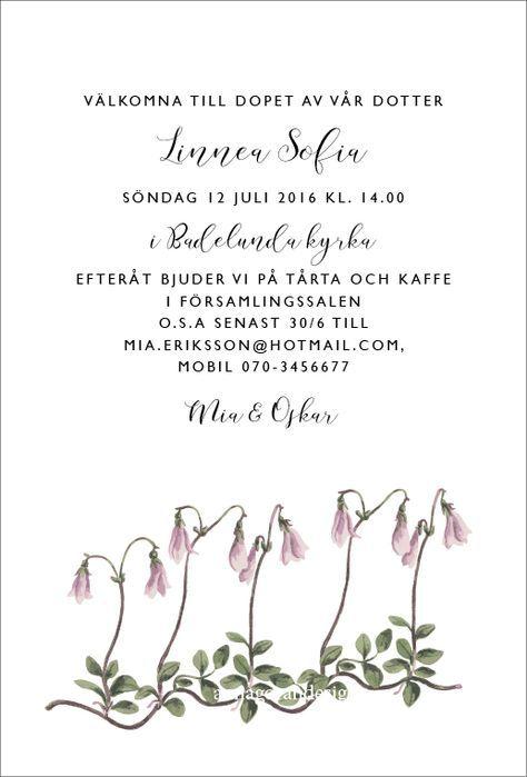 Linnea dop - Inbjudningskort till dop eller namngivning från Anna Göran Design