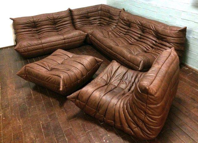 Vintage Togo Wohnzimmer Set Aus Braunem Leder Von Michel Ducaroy