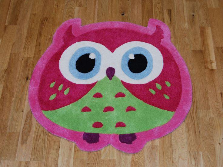 Pink Owl Children s Rug 80cm x 80cm (2'6 x 2'6 ft)