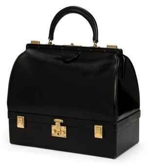 BLACK BOX LEATHER MALLETTE BAG :  HERMÈS, 1960S