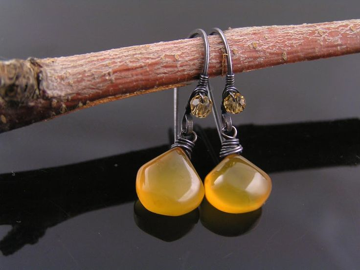 Golden Chalcedony Earrings, Wire Wrapped Earrings, Gem Jewelry, Gemstone Earrings, Black and Yellow, Copper Earrings, Copper Jewelry by ClassicMinimalist on Etsy