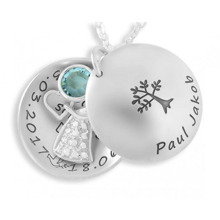 Wunderschönes Taufmedaillon mit Ihrem Wunschtext bzw. Wunschnamen. In dem Medaillon ist ein Engel und ein Geburtsstein randesigned. Ein schönes Geschenk für das Patenkind.