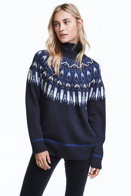 Jacquard-knit polo-neck jumper