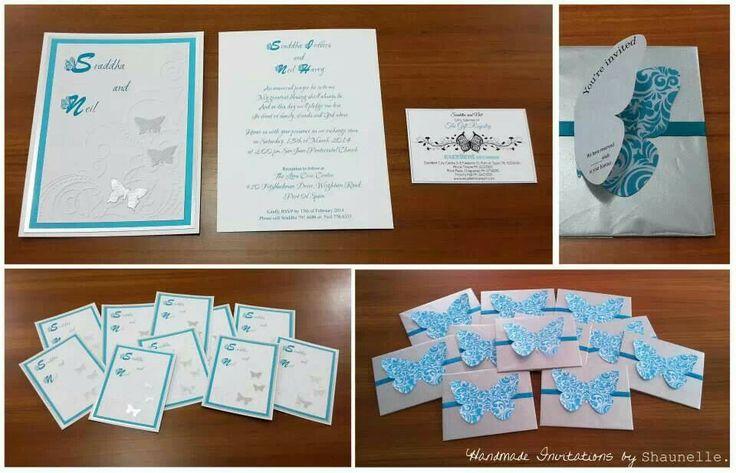 Teal and Silver Butterfly wedding invitations by Shaunelle Ramesar #handmade #silve #teal #bespoke #handmadeinvitations #weddinginvitations #shaunelleramesar #shaunellett #butterflies