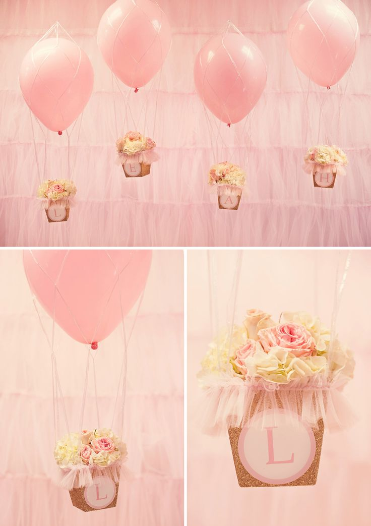 hot air balloon decor idea A Glittering Pink and Gold Hot Air Balloon Themed Birthday Party