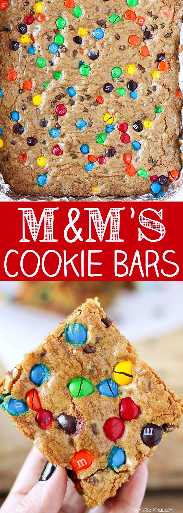 M&M'S Chocolate Chip Cookie Bars | 2 sticks of butter, at room temperature 1 cup of granulated sugar 1 cup of firmly packed golden brown sugar 3 large eggs 1 1/2 teaspoons of pure vanilla extract 3 cups of all-purpose flour 3/4 teaspoon of baking soda 3/4 teaspoon of salt 1 1/2 cups of M&M's, plus more for topping 1 cup of mini chocolate chips, plus more for topping