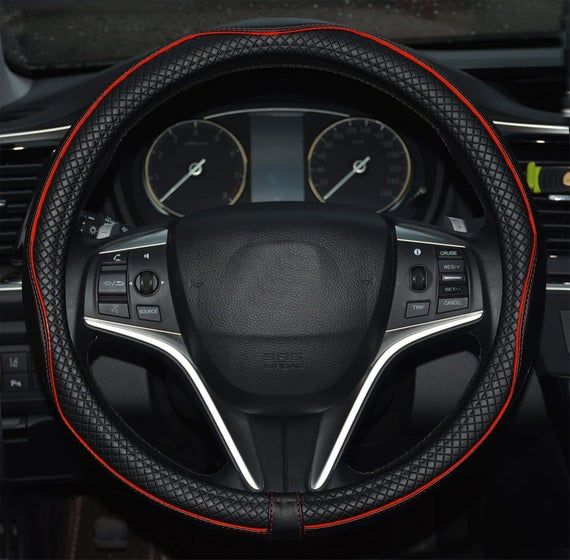 Achiou Universal 15 Inch Car Steering Wheel Cover Fiber Leather Auto Breathable /& No Smell