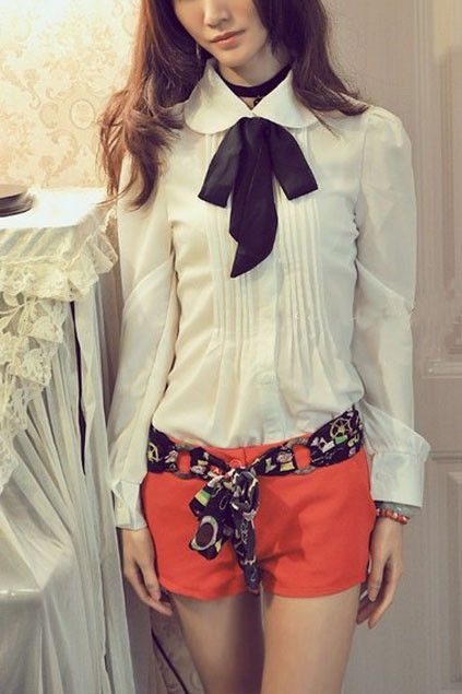 Preppy Style Pleated Chiffon Blouse with Long Sleeves OASAP.com