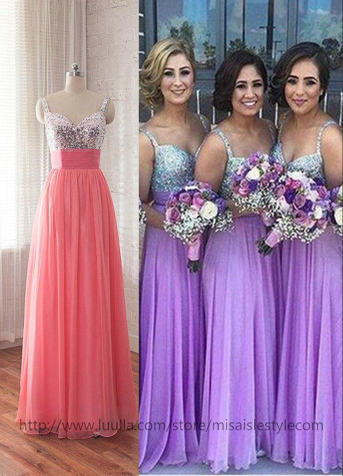 Sequins Bridesmaid Dresses Straps Full Length Prom Dress Gowns In